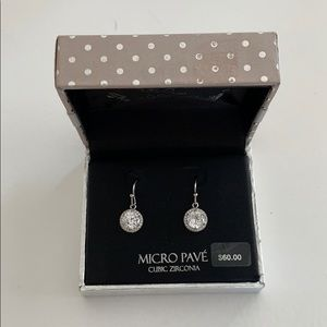 Cubic zirconia silver plated drop earrings